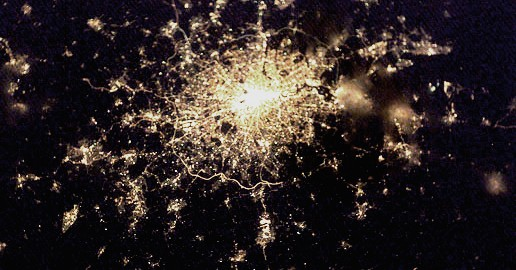 London by night seen from the International Space Station.