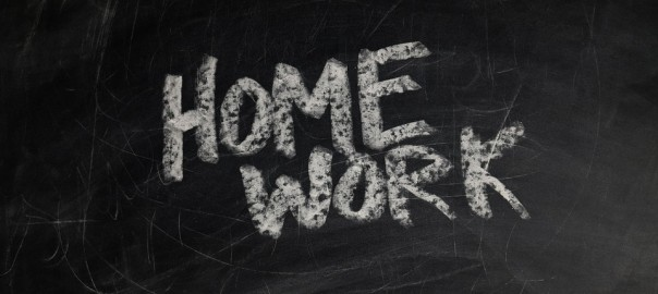 "Image of chalkboard with the word ""homework"" on it"
