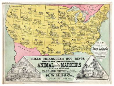 U.S. map showing animals of various states,